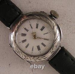 120 Years Old All Original Serviced Cylindre 1900 French Silver Wrist Watch MINT