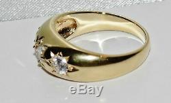 14K Yellow Gold Silver Antique Style Three Stone Men's Gypsy Ring ALL SIZES