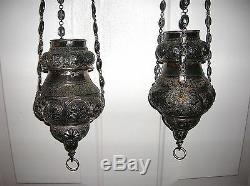 18th C. South American Pair Of Church Hanging Lamps Very Rare All Hand Made