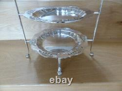 1920s Walker and Hall silver plate three-tier cake stand, all original, vgc, rare