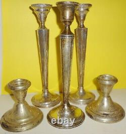 1940's 5 STERLING CANDLESTICKS weighted VARIOUS MAKERS AS FOUND all ONE PRICE
