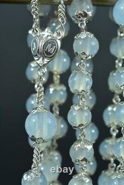19THc french antique opaline glass sterling silver hand Rosary all caped