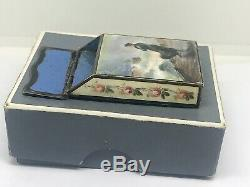 19th century French silver and enamel vesta case painted on all sides