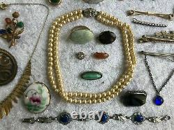 51 pc ALL WEARABLE Victorian Lot Sterling Silver Semiprecious C-Clasp Onyx Lapis