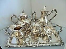 6 Piece Antique Esterlina 925 Camusso Tea, Coffee Set With Tray All Hallmarked