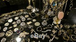 ALL Sterling Silver 925 Mixed Jewelry Lot Estate Gemstones Vintage Antique Stuff