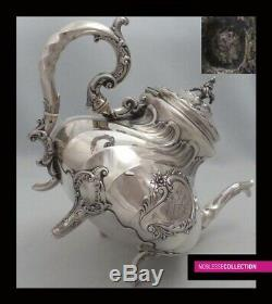 AMAZING ANTIQUE 1880s FRENCH ALL STERLING SILVER TEAPOT COFFEE POT SET 4pc 1944g