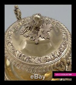 ANTIQUE 1840s FRENCH STERLING SILVER ALL VERMEIL18k GOLD SUGAR BOWL