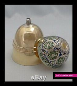 ANTIQUE 1860s FRENCH ALL STERLING SILVER GILT/VERMEIL & ENAMELS CHALICE + PATEN