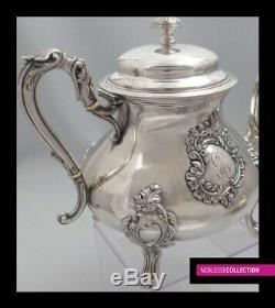 ANTIQUE 1890s FRENCH ALL STERLING SILVER TEA COFFEE POTS SUGAR BOWL CREAMER SET