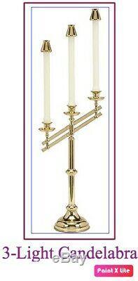 All Brass, Three-Light Adjustable Candelabra 3 7/8 dia sockets