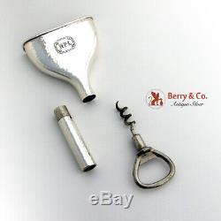All In One Flask Funnel Bottle Opener Corkscrew W B Kerr Sterling Silver 1900