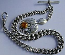 All original Edwardian solid silver pocket watch albert chain, superb silver fob