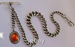 All original Victorian solid silver pocket watch albert chain, silver & amber fob