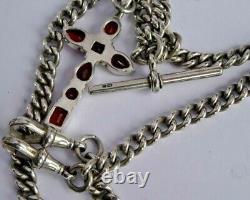 All original antique double solid silver pocket watch albert chain & garnet fob