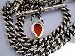All original antique solid silver double pocket watch albert chain & amber fob