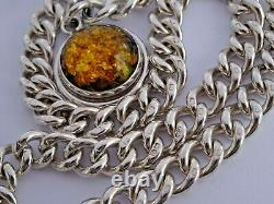 All original antique solid silver pocket watch albert chain & amber fob. Chester