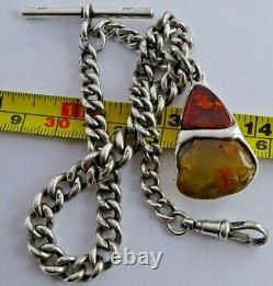 All original antique solid silver pocket watch albert chain w silver & amber fob