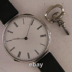 Amazing 150 Years Old All ORIGINAL Cylindre 1870 French Silver Wrist Watch Mint