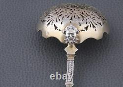 Antique 19 ThC French all sterling silver & vermeil Sugar sifter spoon Mascaron