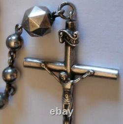 Antique 800 Sterling Silver Large Rosary All Seeing Eye