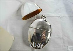 Antique All Sterling Silver Hip Flask with Gilded Cup-Holds 4 Ounces c1900