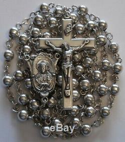 Antique Creed All Sterling Silver Large Rosary Beads 30 Grams Vintage