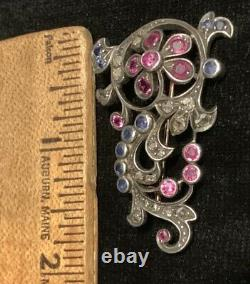 Antique Diamonds Rubies Sapphire Brooch 18k Silver 1865 All Natural Stones