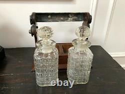 Antique English Oak & Silver Plate Tantalus Cabinet 2 Decanters All Original