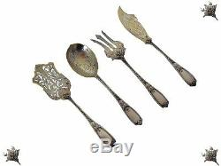 Antique French All Sterling Silver & Vermeil Dessert set 4 pc