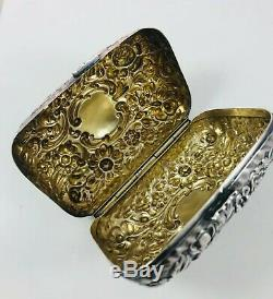 Antique Gorgeous Dominick&Haff Sterling Silver All Over Floral Repousse Soap Box