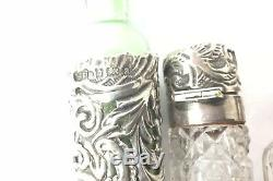 Antique Job Lot Silver And Glass Perfume Bottles & Vanity Items All Hallmarked