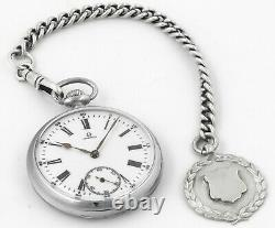 Antique OMEGA 1930 All Swiss Pocket Watch And Fob Set