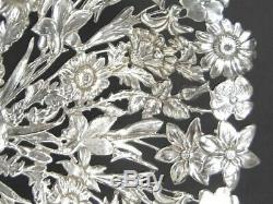 Antique SHIEBLER All Over Pierced Multi Flowers Pansy Sterling Silver BOWL 4907