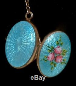 Antique STERLING SILVER Dbl Sided ENAMEL GUILLOCHE LOCKET Necklace ALL ORIGINAL