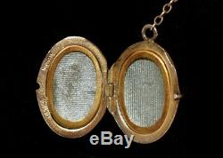 Antique STERLING SILVER Dbl Sided ENAMEL GUILLOCHE LOCKET Necklace ALL ORIGINAL