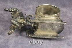 Antique Silver Figural Napkin Ring Wilcox 1576 Boy with Sled All Original