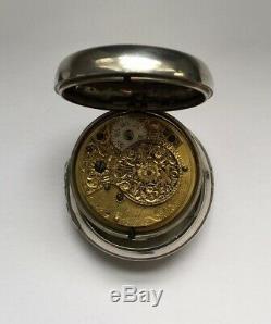 Antique Silver Pair-Case Pocket Watch 1792 all original condition