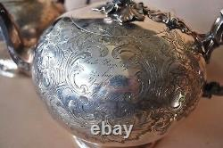 Antique Silver Plated Stunning Coffee Tea Pot Set DIXON Hand Engraved all around