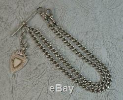 Antique Solid Silver Double Albert Pocket Watch Chain Necklace All Original