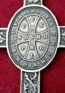 Antique St. Benedict Catholic Exorcism Sterling Cross & Medal Against All Evil