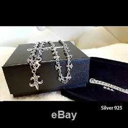 Antique Sterling Silver 925 Necklaces Vintage Jewelry Chroam All Carving Chain