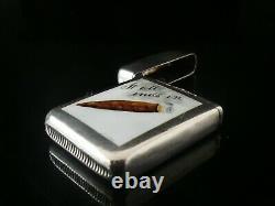 Antique Sterling Silver Enamel Vesta Case, It All Ends Up In Smoke, 1887