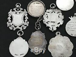 Antique Sterling Silver Fob Pendants All Fully Hallmarked Circa 1920's
