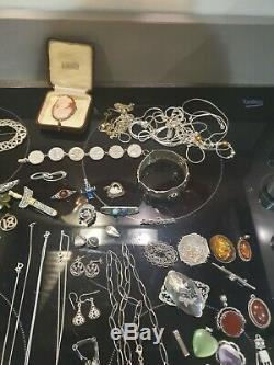 Antique Sterling Solid Silver Hallmarked Joblot 100 pieces all good
