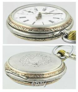 Antique Swiss Pocket Watch All Sterling Silver Gilded Highlights Shield Fob Set