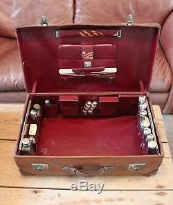 Antique Travel Case Made 1881 With Original Silver Fittings All Hall Marked