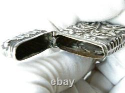 Antique Vesta Case Sterling Silver All-Over Art Nouveau Floral Decorations