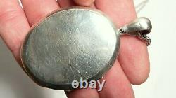 Antique Victorian Picture Locket Pendant & LONG ROPE NECKLACE ALL SOLID SILVER