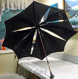 Antique Victorian Sterling Silver & MOP MOTHER of PEARL UMBRELLA All Original